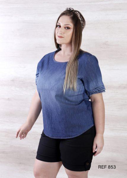Ref 853 Blusa Jeans com Babado