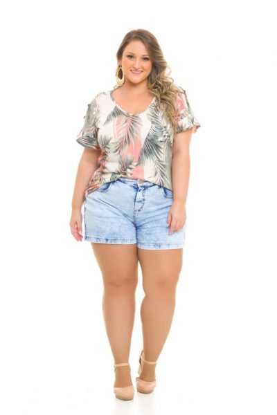 Blusa Malha-Linho 979 Shorts Jeans 1019